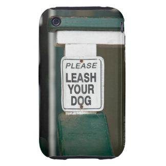 Please leash your dog sign iPhone 3 tough case