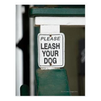 Please leash your dog sign postcard