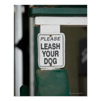 Please leash your dog sign poster