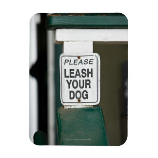 Please leash your dog sign rectangular photo magnet