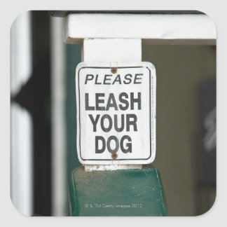 Please leash your dog sign square sticker