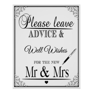 Please leave advice for the new Mr & Mrs Poster