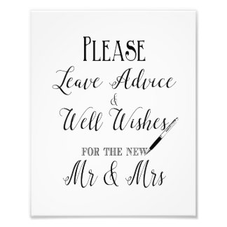 Please leave your advice wedding sign photo print