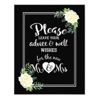 Please leave your advice & well wishes sign photo print