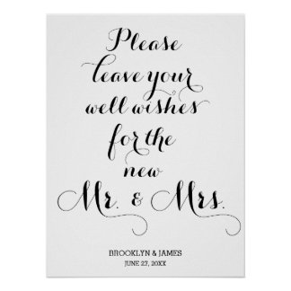 Please Leave Your Well Wishes Wedding Sign Poster