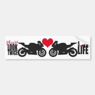 Please Look Twice • Save A Life Bumper Sticker Car Bumper Sticker