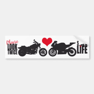 Please Look Twice, Save A Life Car Bumper Sticker