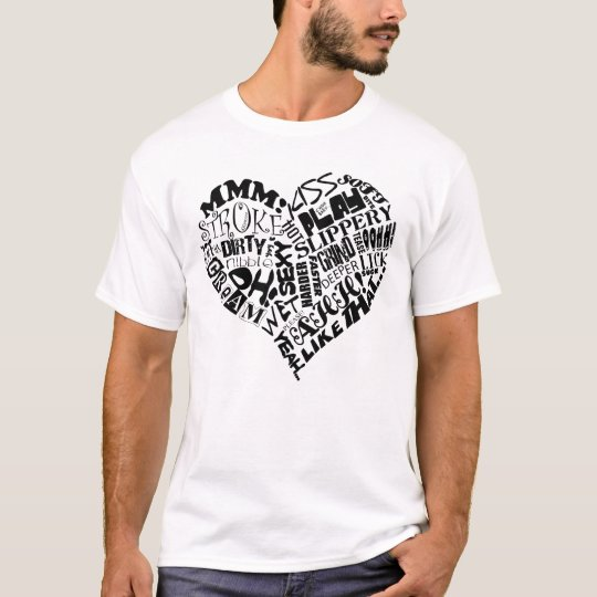 Please Me Heart Word Art Design T-Shirt