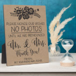 """Please No Cell Phone Photos Wedding Ceremony Sign Plaque<br><div class=""""desc"""">Kindly ask your guests to put their cell phones away during your ceremony with this fun floral sign!</div>"""