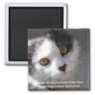 please, no sodium bentonite kitty litter 2 inch square magnet