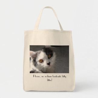 Please, no sodium bentonite kitty litter tote bag