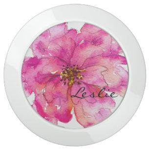 Please Paint Me Pink Floral Elegant Monogram III USB Charging Station