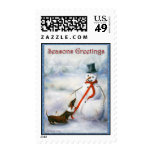 Please Play Mister- Dachshund Snowman Dogs Violano Stamp