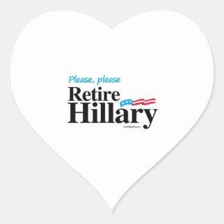 Please Please Retire Hillary Heart Sticker