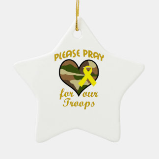 PLEASE PRAY FOR OUR TROOPS Double-Sided STAR CERAMIC CHRISTMAS ORNAMENT