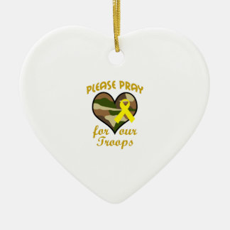 PLEASE PRAY FOR OUR TROOPS Double-Sided HEART CERAMIC CHRISTMAS ORNAMENT