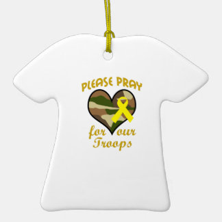 PLEASE PRAY FOR OUR TROOPS Double-Sided T-Shirt CERAMIC CHRISTMAS ORNAMENT