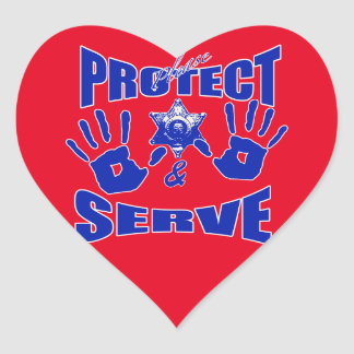 Please protect and serve 2 heart sticker