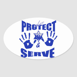 Please protect and serve 2 oval sticker