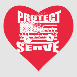 Please Protect And Serve Heart Sticker
