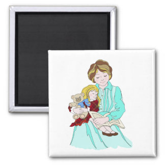 Please Read Me a Bedtime Story 2 Inch Square Magnet
