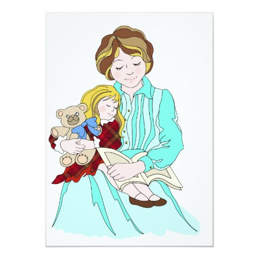 """Please Read Me a Bedtime Story 5"""" X 7"""" Invitation Card"""