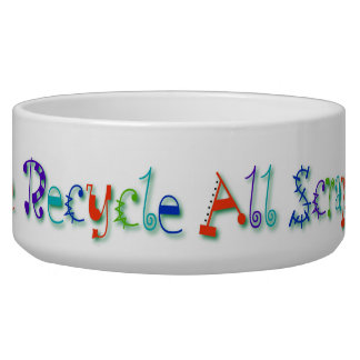 Please Recycle All Scraps Here Funny Cat Food Bowls