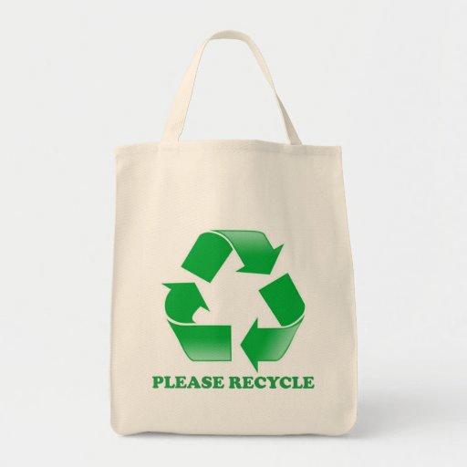 PLEASE RECYCLE HANDBAG. GO GREEN! TOTE BAGS