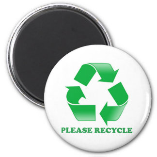 Please Recycle. Recycling Awareness. Go Green. 2 Inch Round Magnet