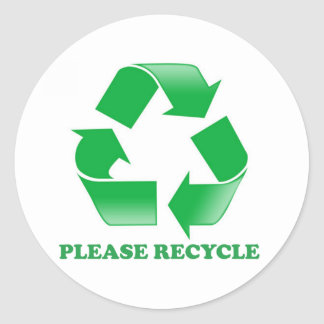 Please Recycle. Recycling Awareness. Go Green. Classic Round Sticker
