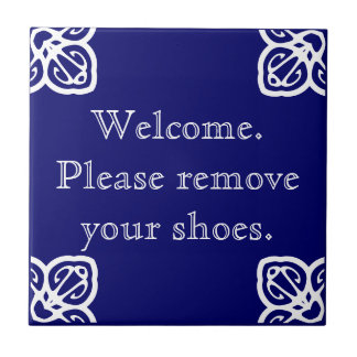 Please remove shoes - Spanish White on Blue Small Square Tile