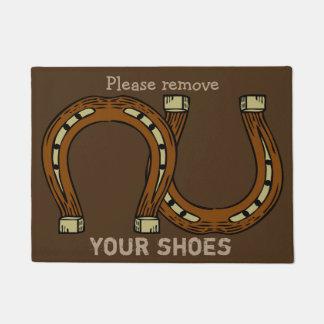 Horseshoe doormats welcome mats zazzle - Remove shoes doormat ...