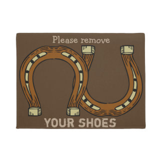 """Please Remove Your Shoes"" with horseshoes Doormat"