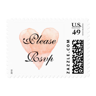 Please RSVP coral watercolor heart wedding stamps