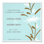 Please Save the date -floral 5.25x5.25 Square Paper Invitation Card