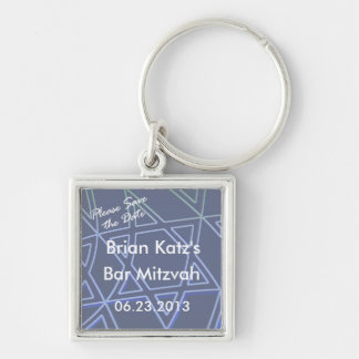 Please Save the Date Star of David Square Keychain
