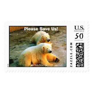 Please Save Us! Polar Bear Postage Stamps