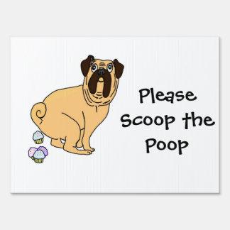 Please Scoop the Poop Pug Poopin' Cupcakes Sign