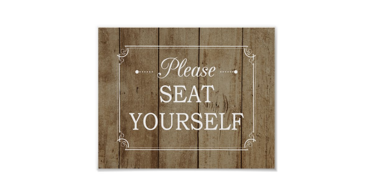 please seat yourself faux wood bathroom poster