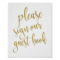 Please Sign our Guest Book 8x10 Wedding Sign