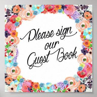 Please Sign Our Guest Book Floral Printout