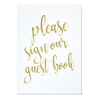 Please Sign Our Guest Book Gold Affordable Sign Card