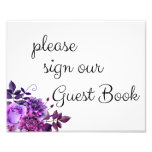 Please Sign Our Guest Book Poster. Purple Wedding at Zazzle