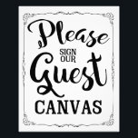 "please sign our guest canvas wedding sign<br><div class=""desc"">wedding sign</div>"
