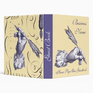 Please Sign our Guestbook - Quill Pen in Hand Vinyl Binders