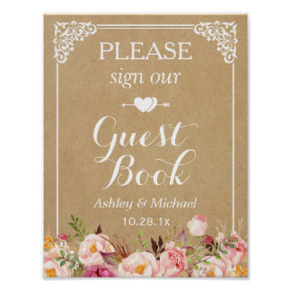 Please Sign Our Wedding Guestbook - Floral Kraft
