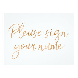 """""""Please sign your name"""" Stylish Gold Rose Sign Card"""