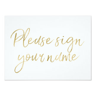 """Please sign your name"" Stylish Gold Sign Card"
