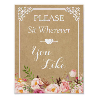 Please Sit Wherever You Like | Floral Wedding Sign Poster