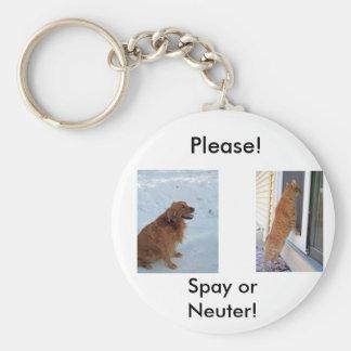 Please!  Spay or Neuter! Basic Round Button Keychain